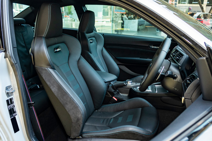 Feature Spotlight: Dakota Leather Upholstery with Blue Stitching and Perforations