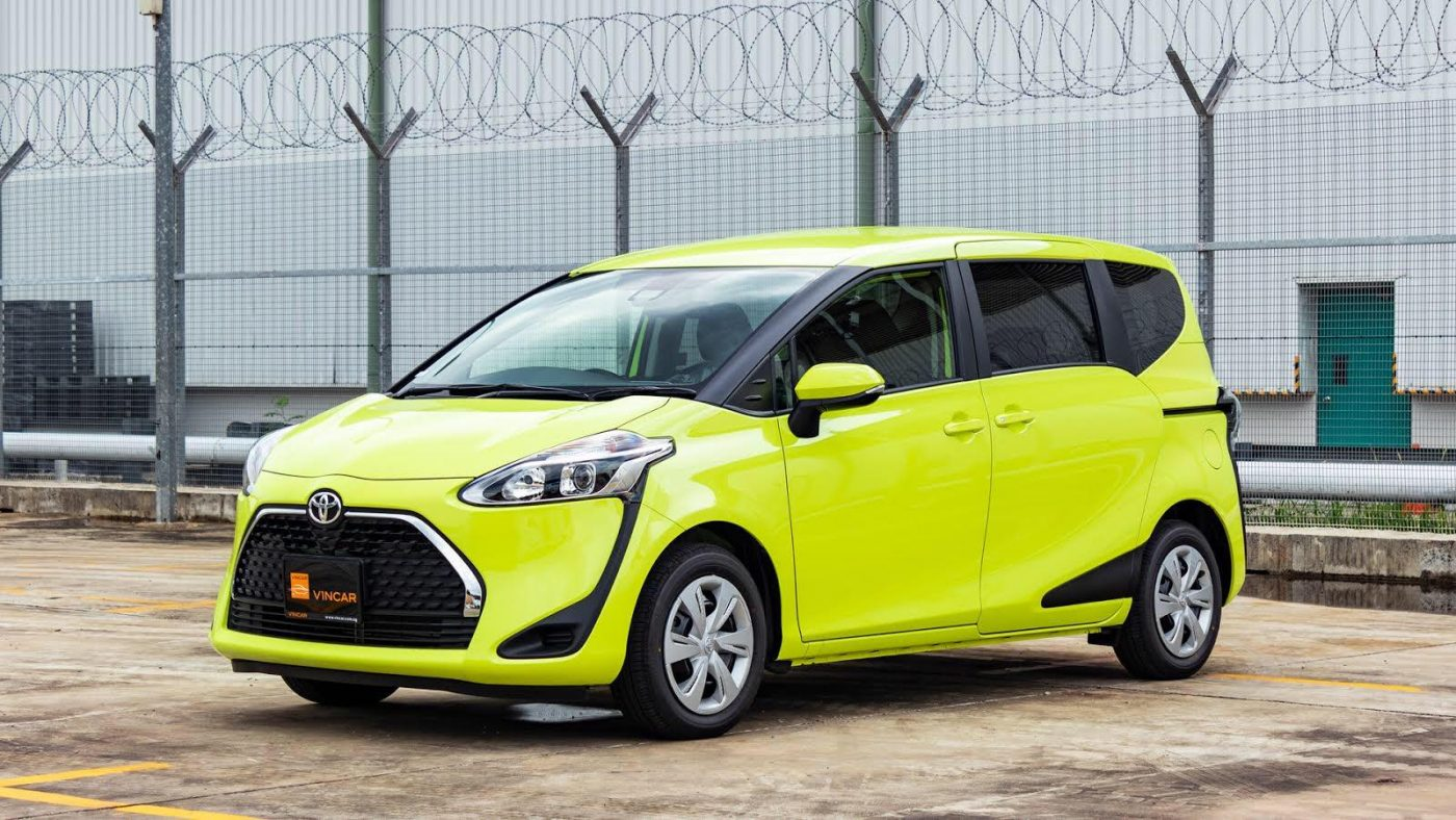 The new Toyota Sienta -Air yellow - Side Profile