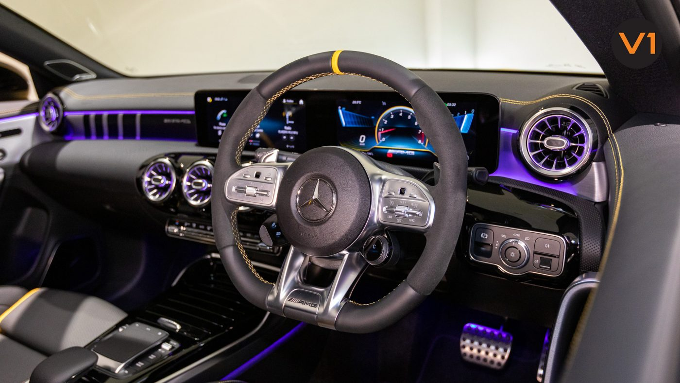 Mercedes-AMG CLA45 S Coupe AMG 4Matic+ Plus (Sun Yellow) - AMG Performance Steering Wheel