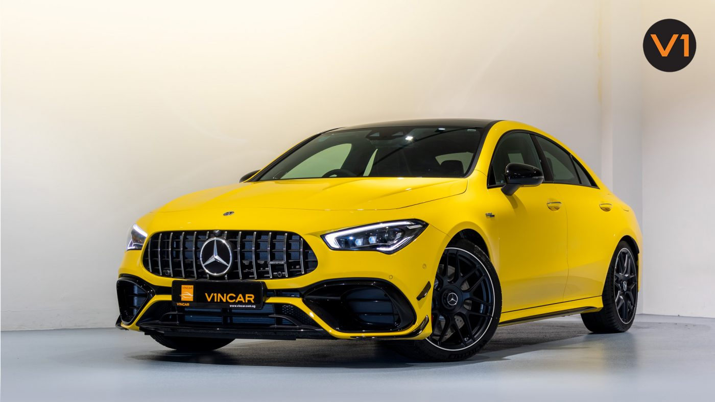 Mercedes-AMG CLA45 S Coupe AMG 4Matic+ Plus (Sun Yellow) - Front Angle